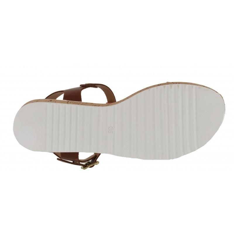 Дамски сандали от естествена кожа Tamaris кафяви/жълти мемори пяна