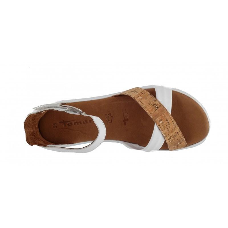 Дамски равни сандали Tamaris бели мемори пяна
