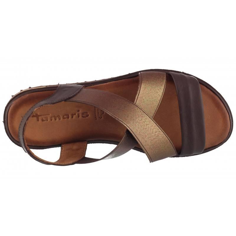 Дамски равни сандали Tamaris кафяви/мока