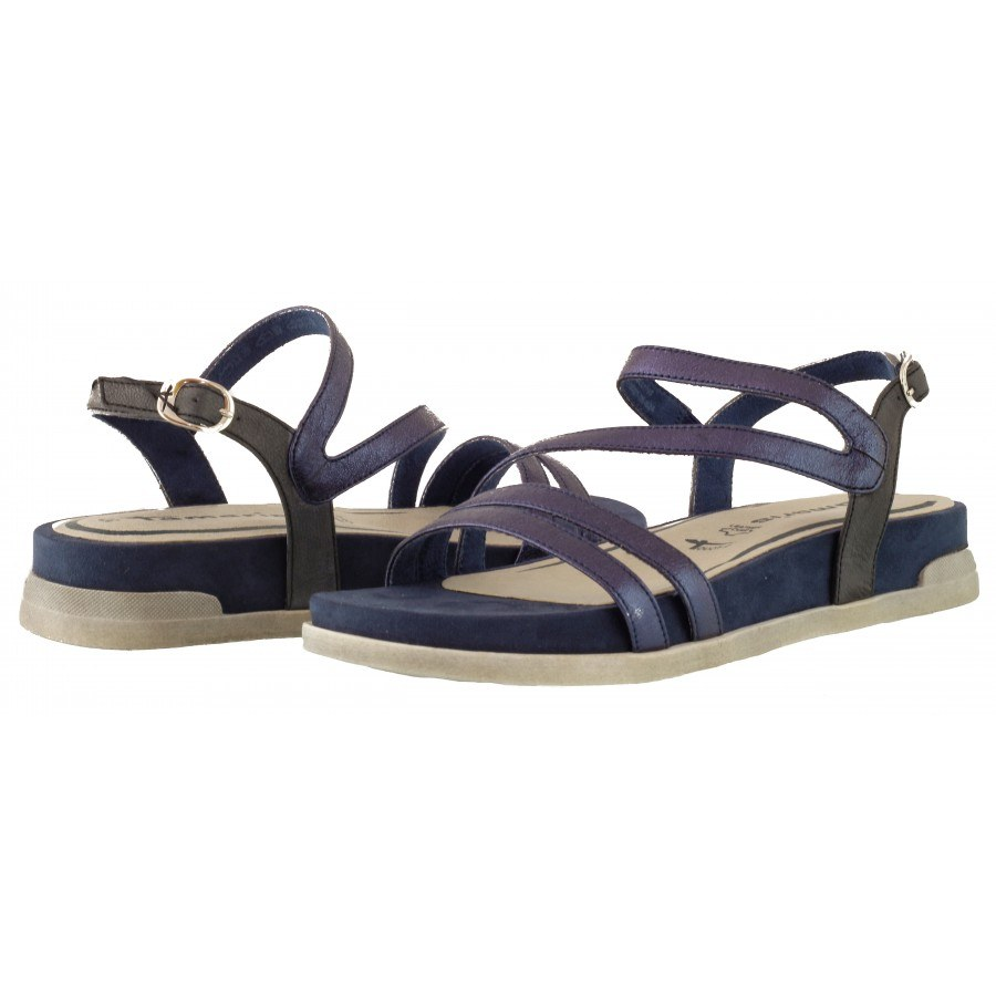 Дамски равни сандали естествена кожа Tamaris сини/комби мемори пяна