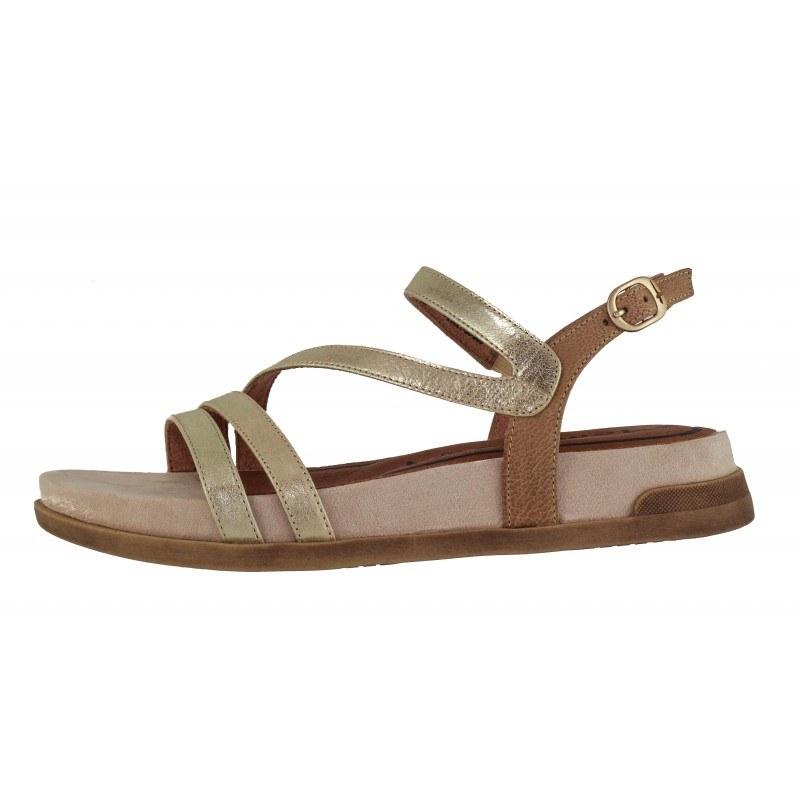 Дамски равни сандали естествена кожа Tamaris златисти/комби мемори пяна