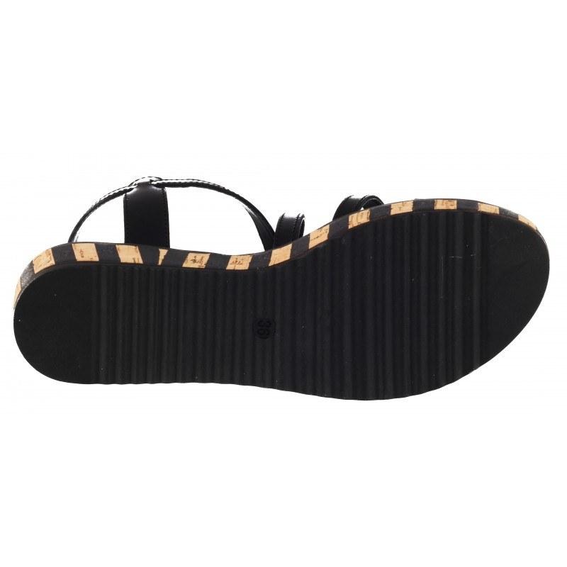 Дамски равни сандали от естествена кожа Tamaris черни мемори пяна