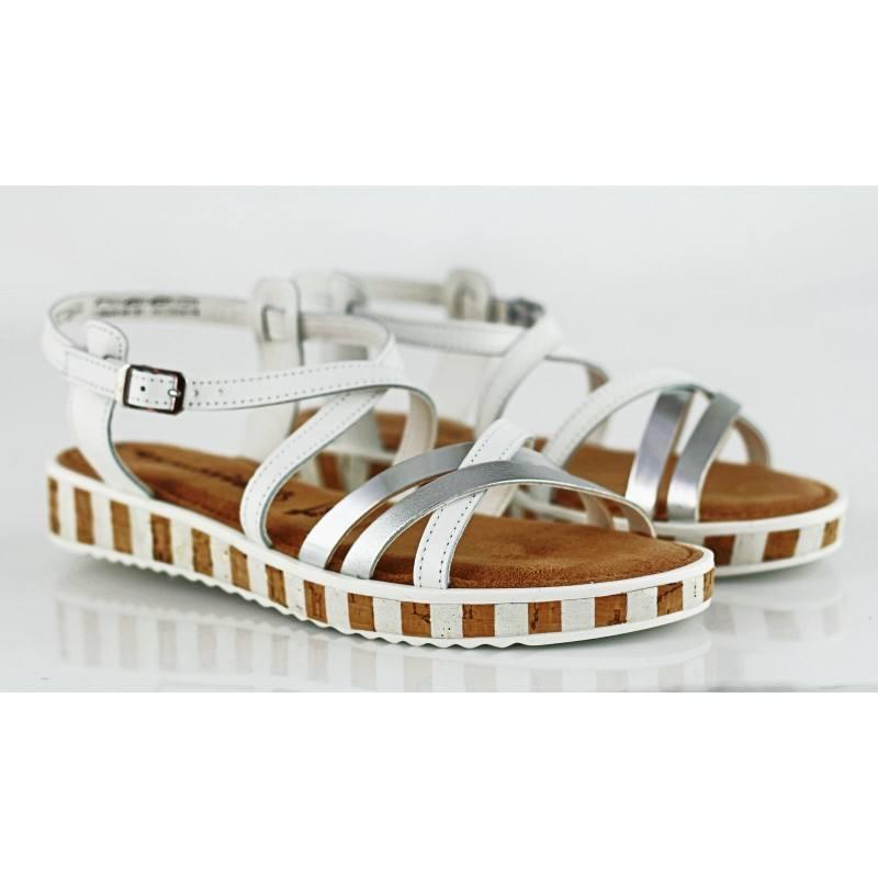 Дамски равни сандали от естествена кожа Tamaris бели/комби мемори пяна