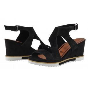 Дамски сандали на платформа естествена кожа Tamaris черни мемори пяна