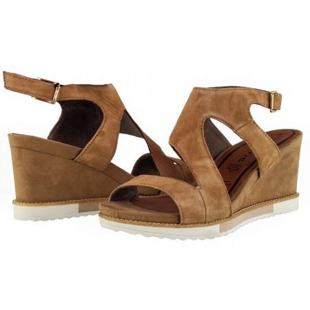 Дамски сандали на платформа естествена кожа Tamaris кафяви antelope