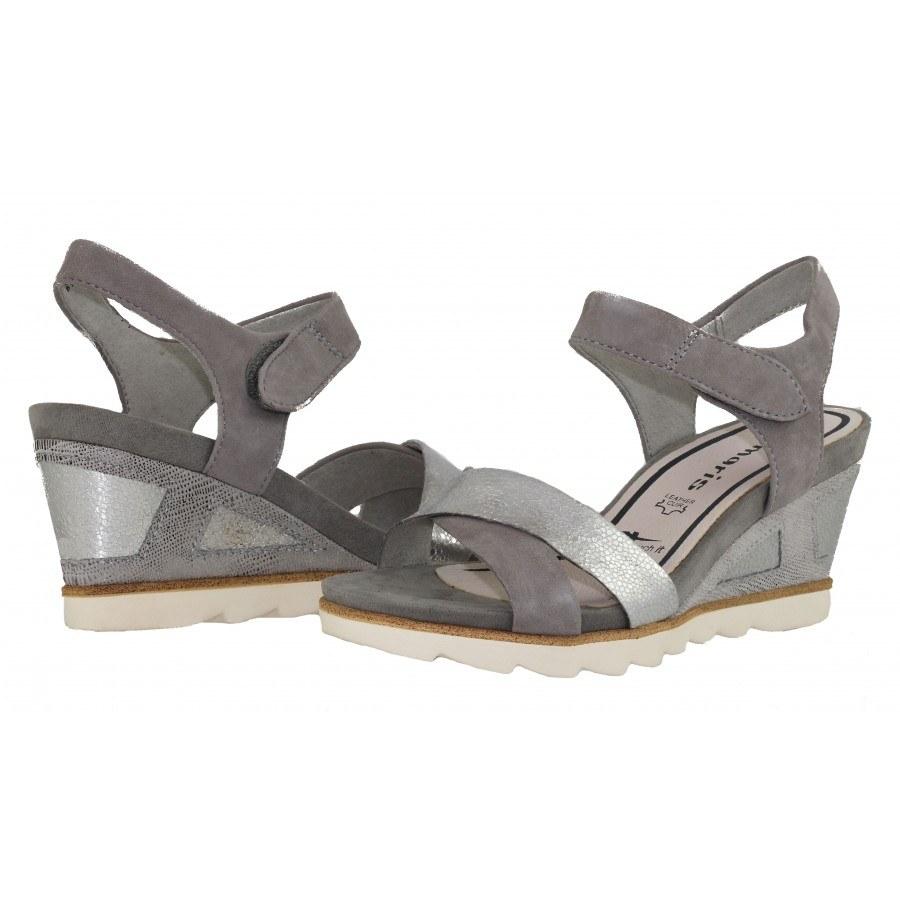 Дамски сандали на платформа Tamaris сиви мемори пяна