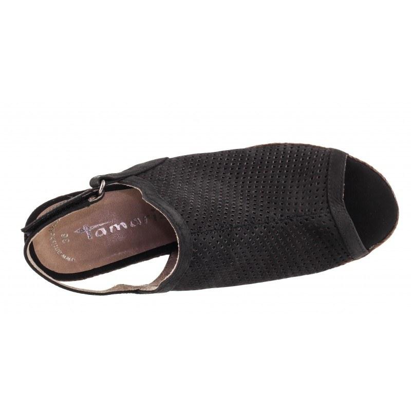 Дамски сандали на ток естествена кожа Tamaris черни ANTSHOKK