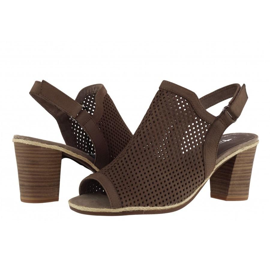 Дамски сандали на ток естествена кожа Tamaris кафяви ANTISHOKK®