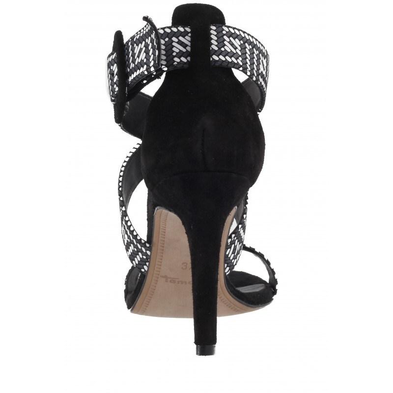 Дамски сандали на висок ток Tamaris черни естествена кожа