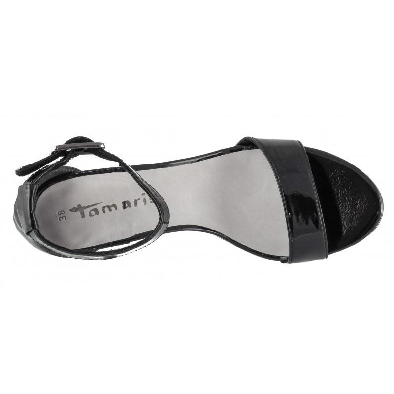 Дамски елегантни сандали на ток Tamaris черен лак