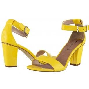 Дамски елегантни сандали на ток Tamaris жълти лак
