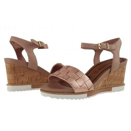 Дамски сандали на платформа Tamaris розови/металик мемори пяна