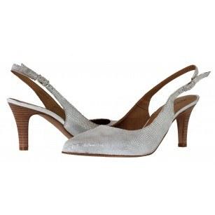 Дамски сандали с тънък ток Tamaris сребристи естествена кожа