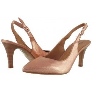 Дамски сандали с тънък ток Tamaris розов металик естествена кожа