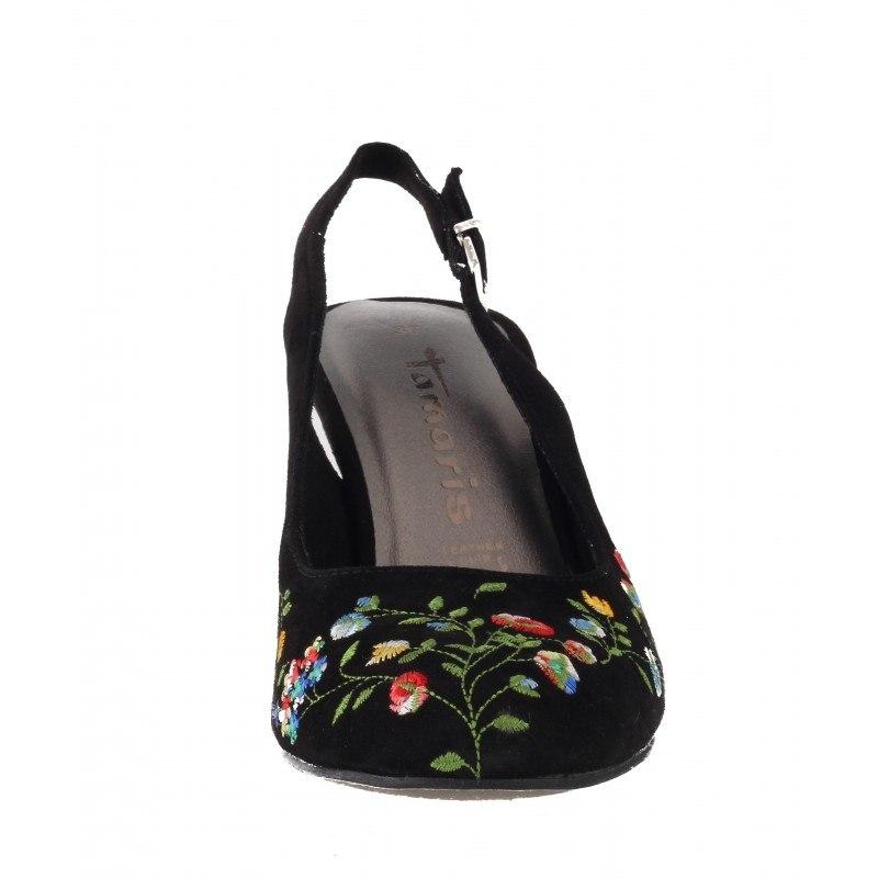 Дамски сандали на ток Tamaris черни етно