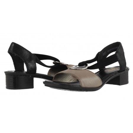 Дамски кожени сандали на ток Rieker черни/бежови