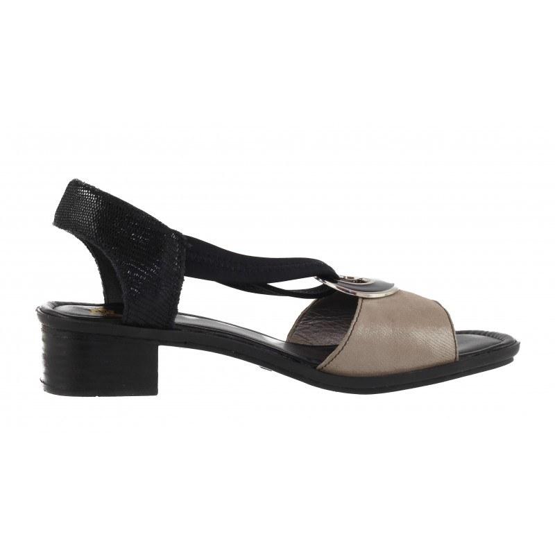 Дамски кожени сандали на ток Rieker черни/бежови 62689-42