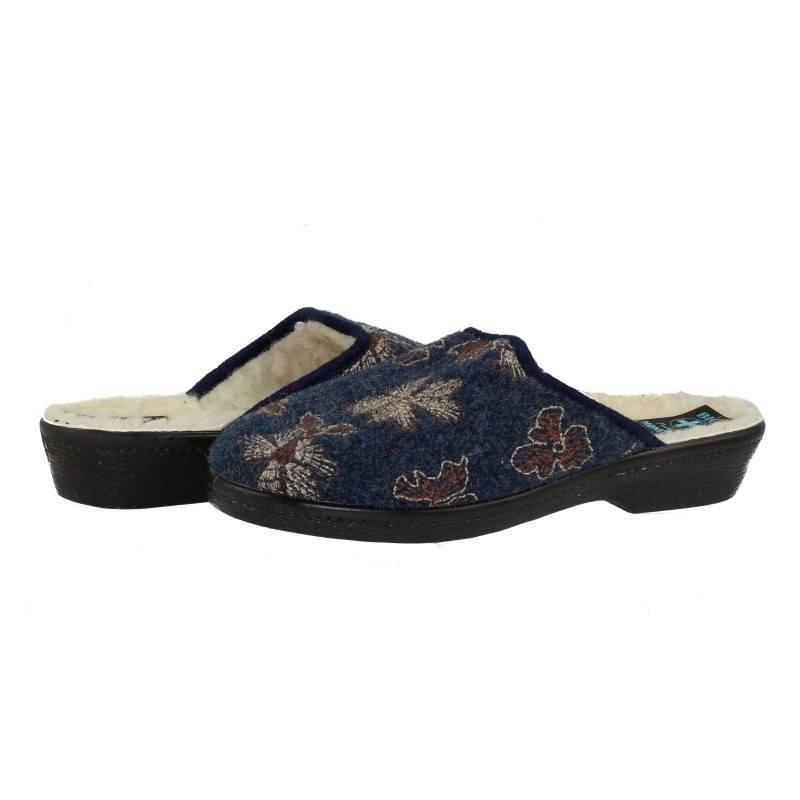 Дамски домашни чехли Moneta натурална вълна сини BIO