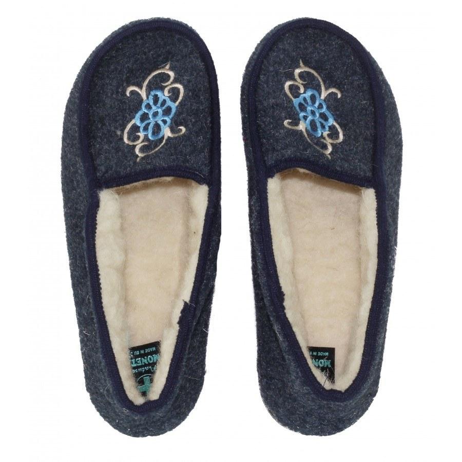 Дамски домашни пантофи Moneta с вълнен хастар сини BIO