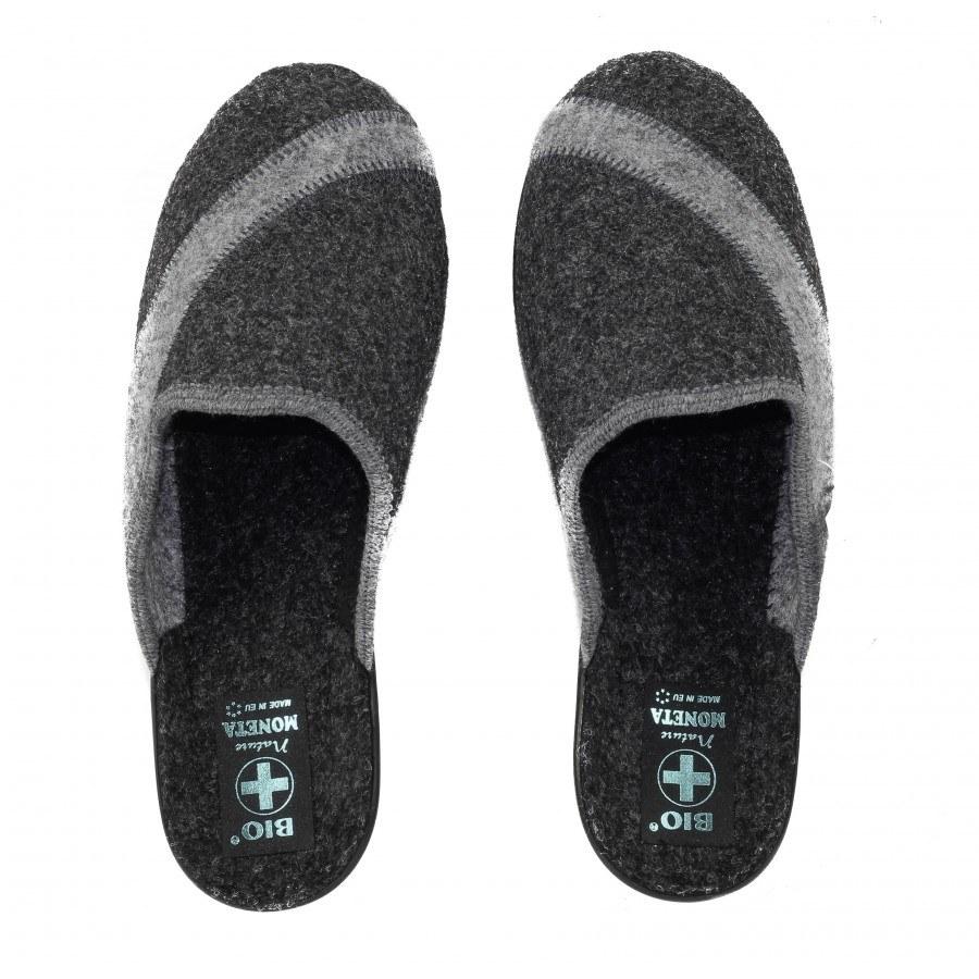 Дамски домашни чехли Moneta вълнени тъмно сиви BIO