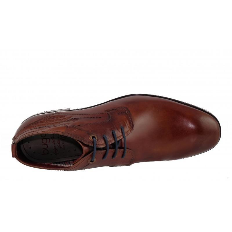 Мъжки елегантни боти естествена кожа Bugatti® кафяви/коняк