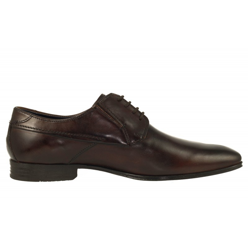 Елегантни мъжки обувки с връзки естествена кожа Bugatti® кафяви широки