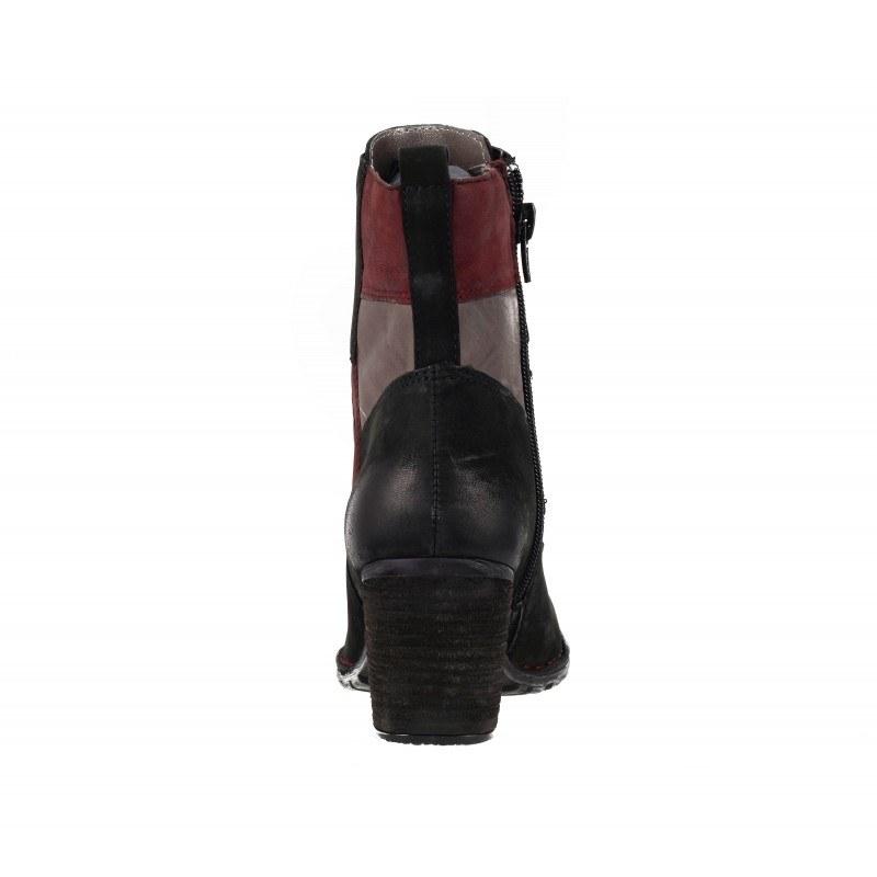 Дамски кожени боти на ток с връзки Bugatti® естествена кожа Patchwork черни Cathy Evo