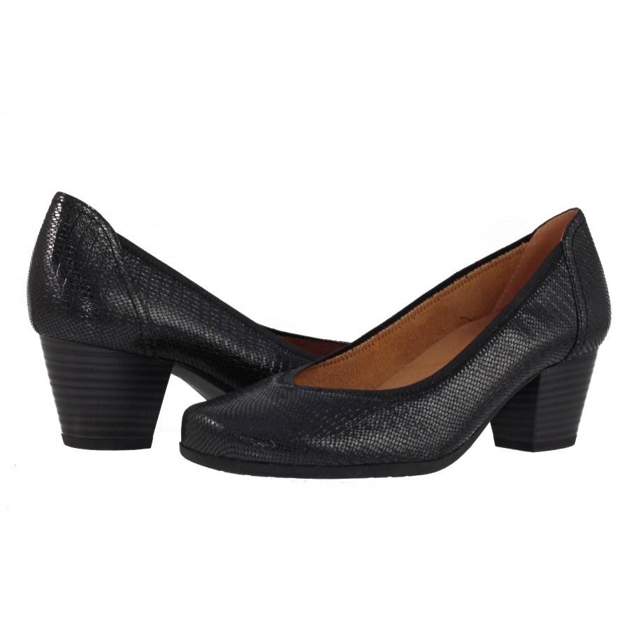 Дамски кожени обувки на ток Caprice черни змийски принт H