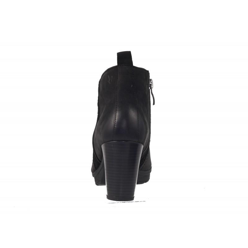 Дамски боти на ток естествена кожа Caprice черни