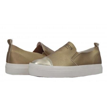 Дамски спортни обувки без връзки XCESS златисти. Магазин kompass.bg - Безплатна Доставка