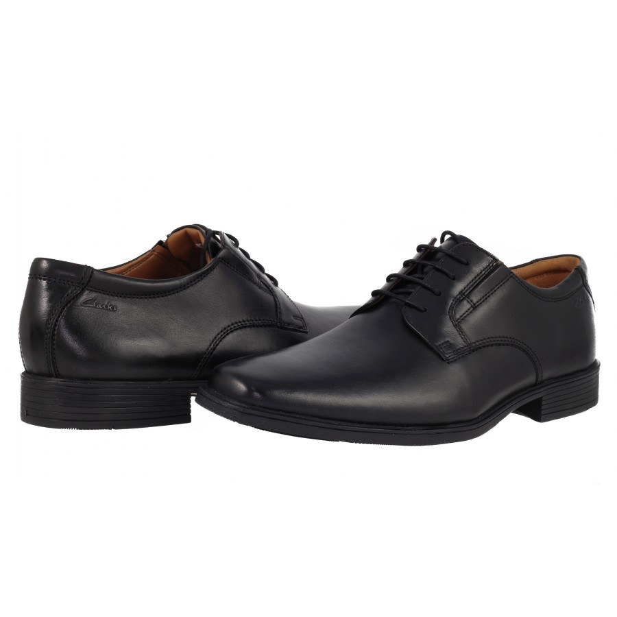 Елегантни мъжки кожени обувки Clarks Tilden Plain черни