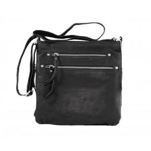Средна Чанта от естествена кожа Clarks Talley Ridge с ципове черна