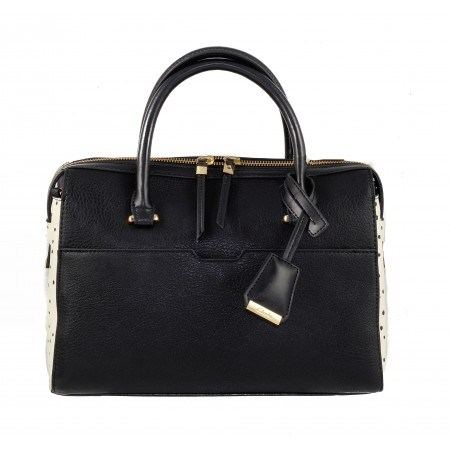 Дамска средна чанта Clarks Milners Grace черно и бяло на точки