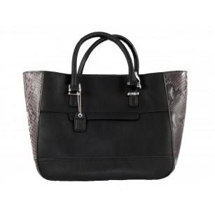 Дамска голяма чанта Clarks Magnolia Rose змийски мотив черно