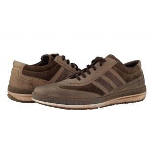 Мъжки кожени спортни обувки с връзки кафяви-бежови