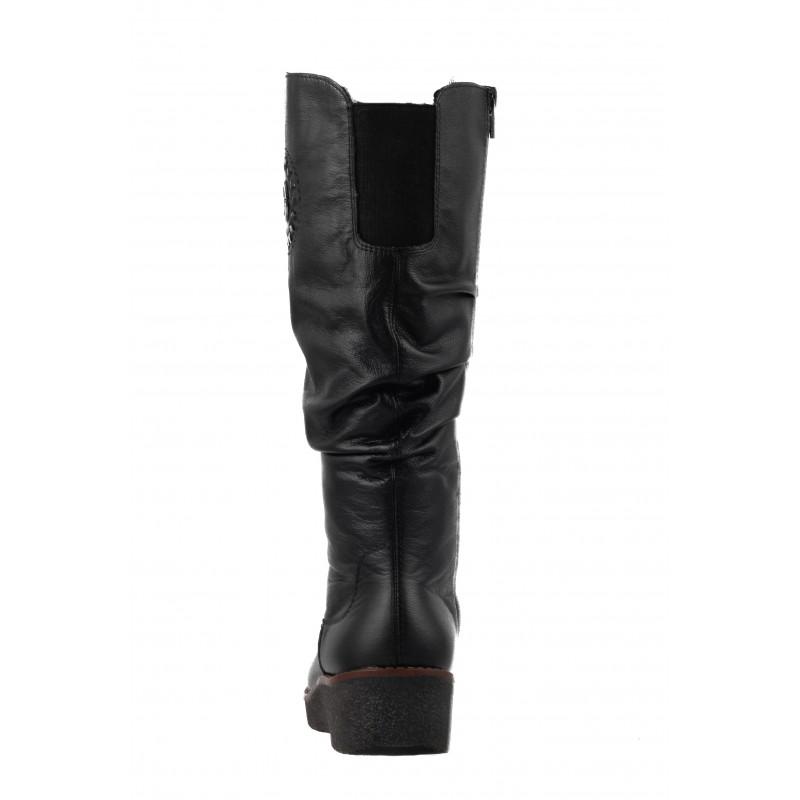 Дамски кожени ботуши с натурална вълна Rieker ANTISTRESS черни Y4668-00