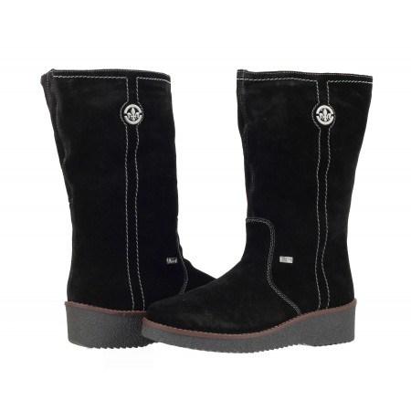 Дамски кожени боти на платформа велур Rieker черни Y4671-00