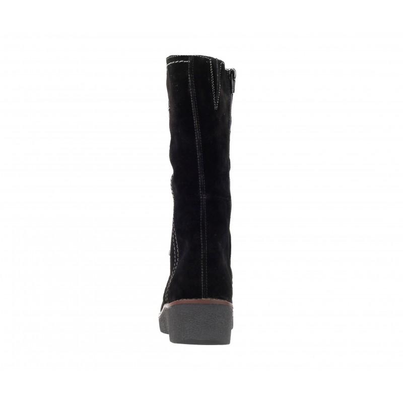 Дамски къси ботуши на платформа велур Rieker черни Y4671-00