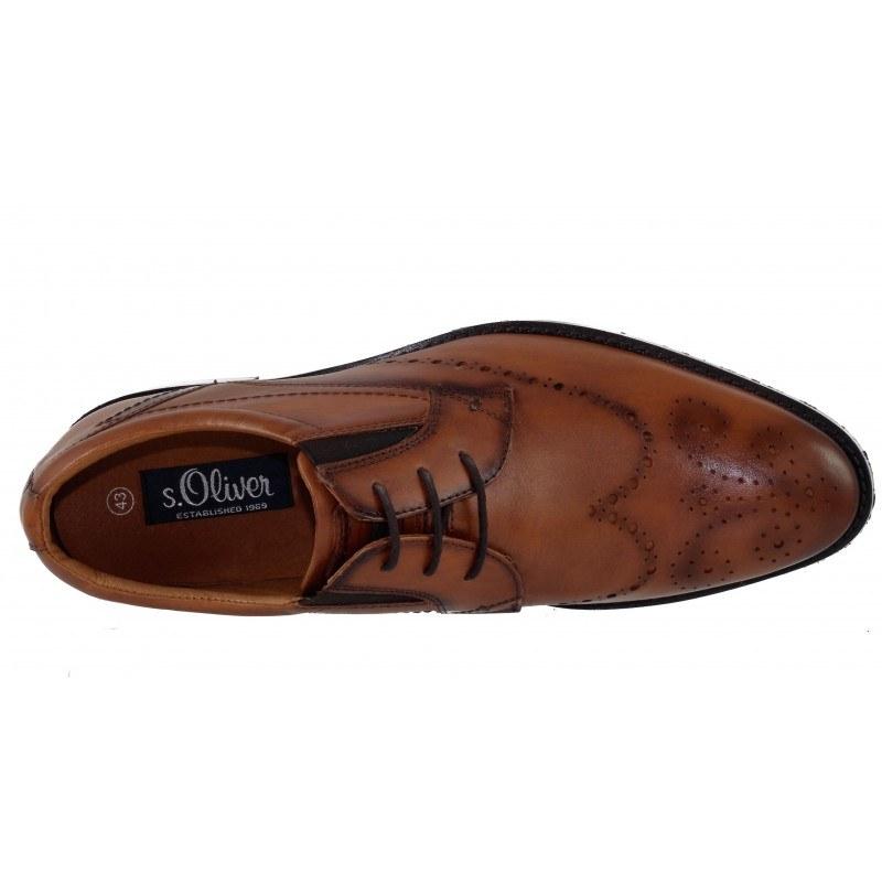 Мъжки кожени обувки с връзки S.Oliver коняк brogue