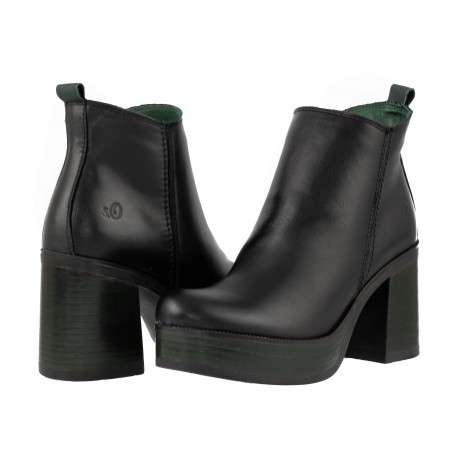 Дамски боти на ток естествена кожа S.Oliver черни/зелени