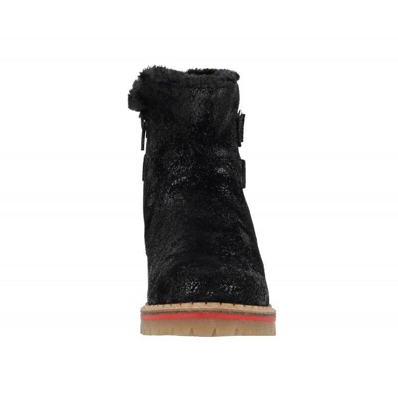 Дамски кожени боти велкро цип S.Oliver черни