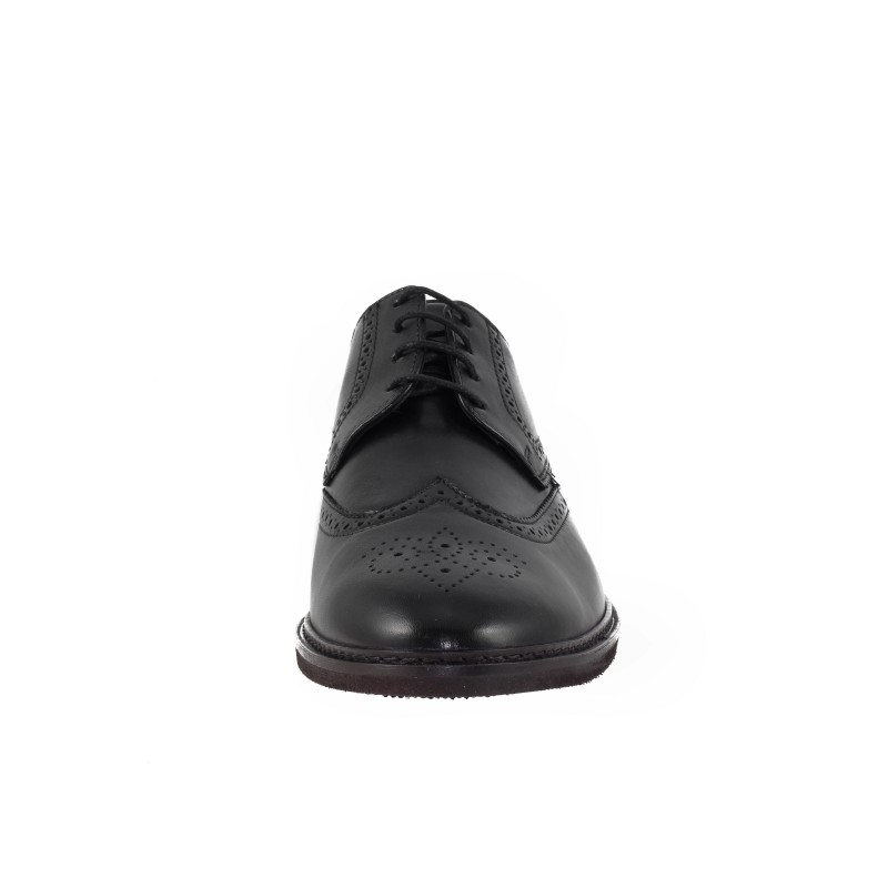 Мъжки кожени обувки Salamander brogue черни екстра-широки