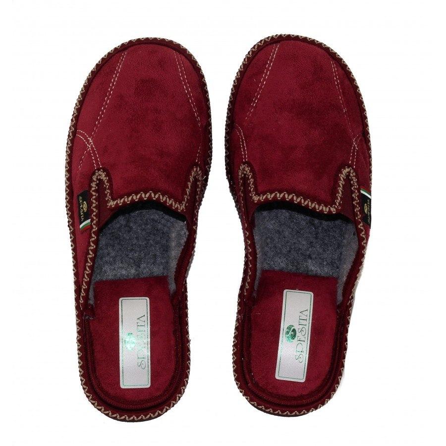 Дамски домашни чехли Spesita бордо DOTTI