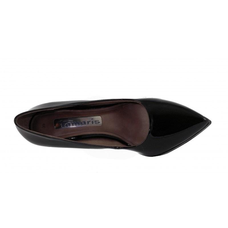 Елегантни лачени дамски обувки на висок ток Tamaris черни