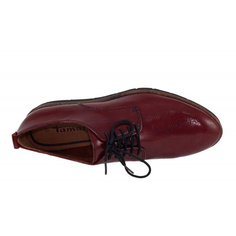 Дамски равни обувки лачени Tamaris бордо мемори пяна