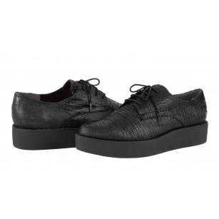 Дамски обувки на платформа с връзки Tamaris черни