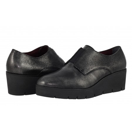 Дамски кожени обувки на платформа Tamaris черни/металик