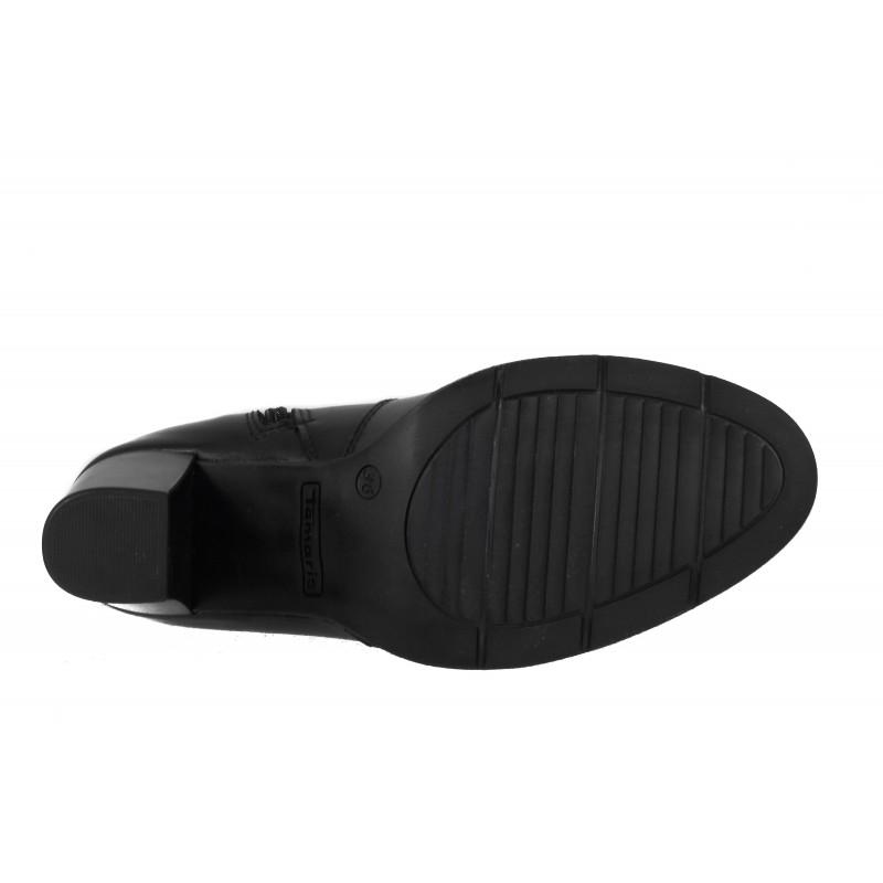 Дамски ботушки на ток Tamaris естествена кожа черни