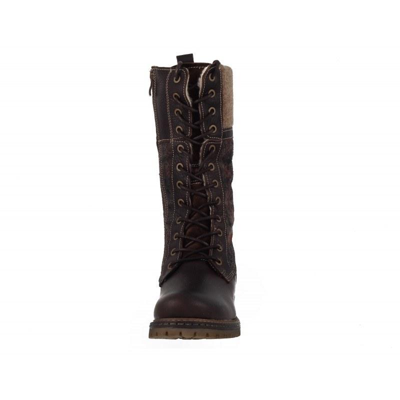 Дамски кожени ботуши с връзки Tamaris кафяви Duo-Tex®