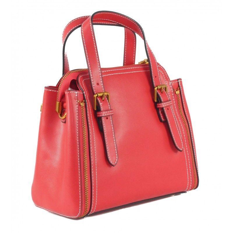 Дамска чанта от естествена кожа BE ME червена